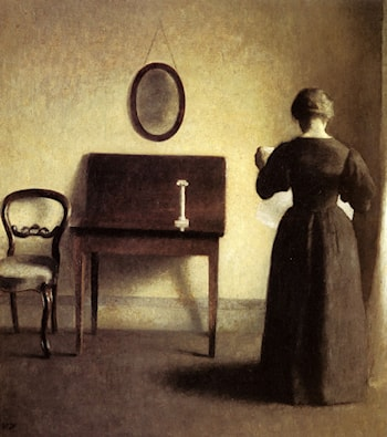 A Lady Reading In An Interior by Vilhelm Hammershoi