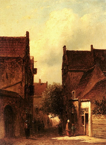 Street Scene With Figures, Possibly Rotterdam by Pieter Gerard Vertin