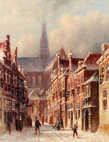 A Snowy Street With The St. Bavo Beyond, Haarlem by Pieter Gerard Vertin