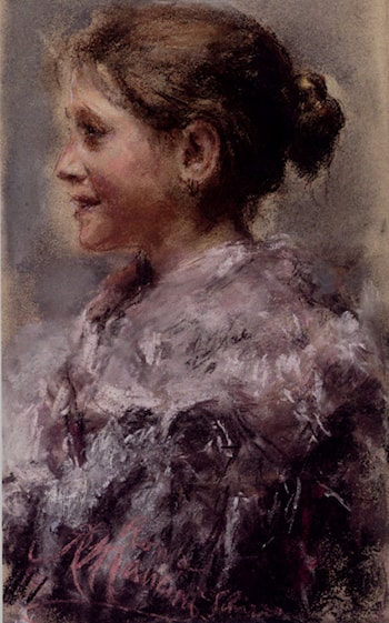 Portrait Of A Young Girl by Antonio Mancini
