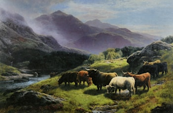 Highland Cattle Grazing by a Mountain Stream by William Watson