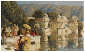 Lake at Oodeypore, India  by Edwin Lord Weeks