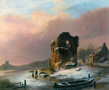 Winter Landscape with Frozen River by Pieter Hendrik Jonxis
