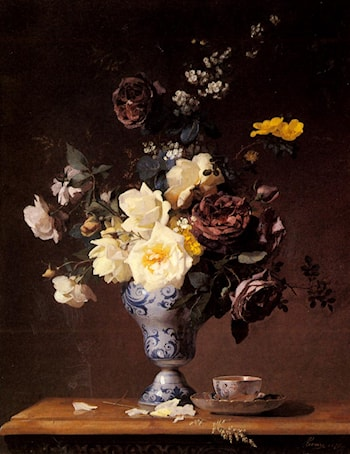 Roses and other Flowers in a blue and white Vase and a aTeacup on a Ledge by Francois Rivoire