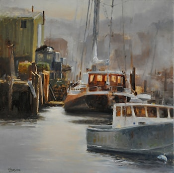 Gloucester Harbor November Fog by Faripour Forouhar