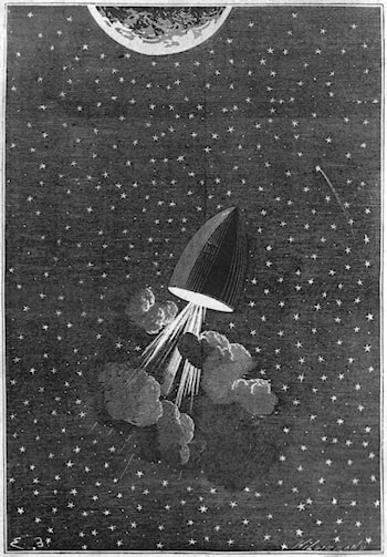 "Illustration for Jules Verne's ""De La Terre à la Lune"" by Emile-Antoine Bayard"