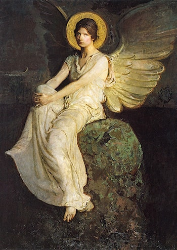 Winged Figure Seated upon a Rock by Abbott Handerson Thayer