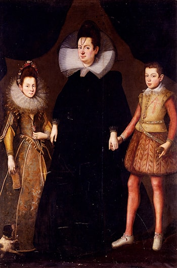 Portrait Of A Mother And Her Two Children by Tiberio Titi