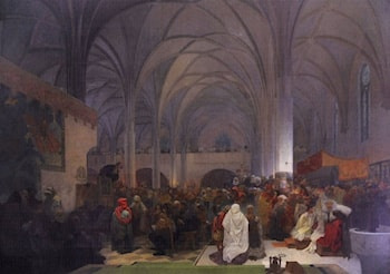 The Slav Epic: No. 8: Master Jan Hus Preaching at the Bethlehem Chapel: Truth Prevails by Alphonse Maria Mucha