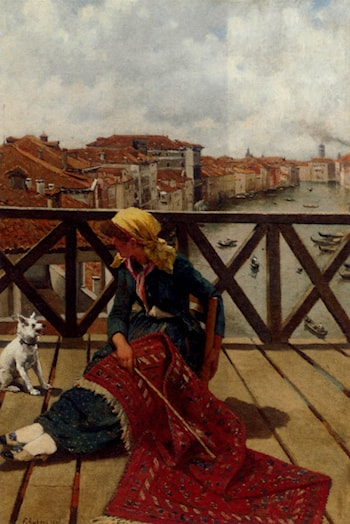 A Distraction On The Accademia Bridge, Venice by Franz Leo Ruben