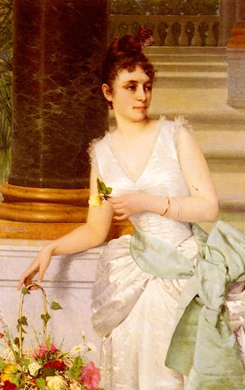 Portrait Of A Lady With A Green Satin Sash by Franz Leo Ruben