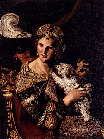A Lady With Her Dog, An Allegory by Angelo Caroselli