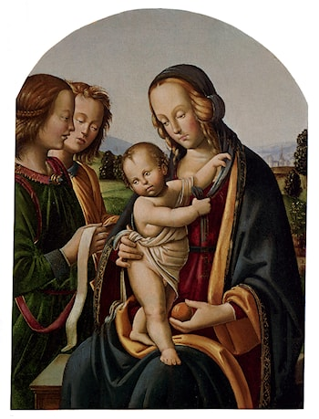Madonna And Child With Two Angels by Bacci di Belforte