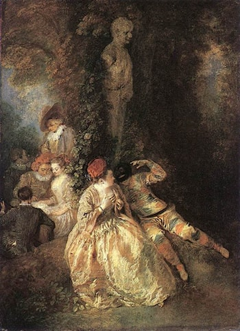 Harlequin and Columbine by Jean-Antoine Watteau