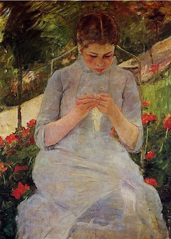 Young Woman Sewing in a Garden by Mary Cassatt