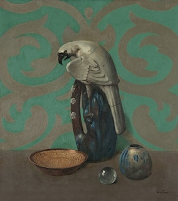 Still Life with Bird, Vase and Bowl Against a Green Background by Harry Willson Watrous