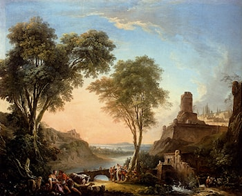 Figures Resting On The Banks Of A River, A Bridge In The Distance by Nicolas-Jacques Juliard