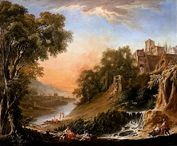 Figures Resting On The Banks Of A River, A Waterfall In The Foreground by Nicolas-Jacques Juliard