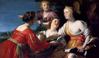 Diana Resting After The Hunt, With Shepherdesses And Two Greyhounds, A Landscape Beyond by Gerrit van Honthorst