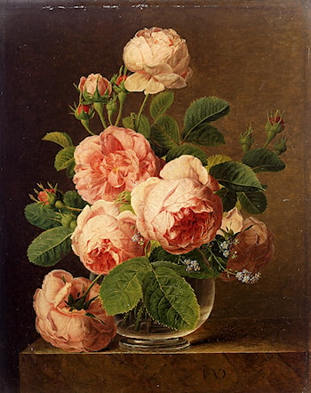 Still Life Of Roses In A Glass Vase by Jan Frans Van Dael