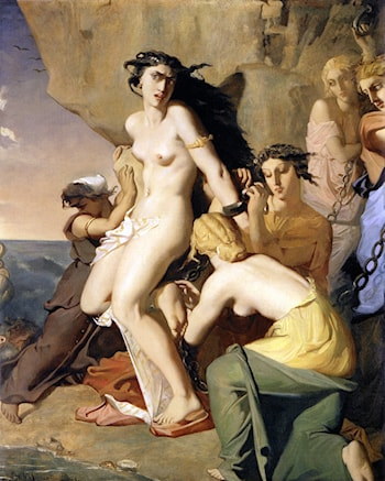 Andromeda Chained to the Rock by the Nereids by Theodore Chasseriau