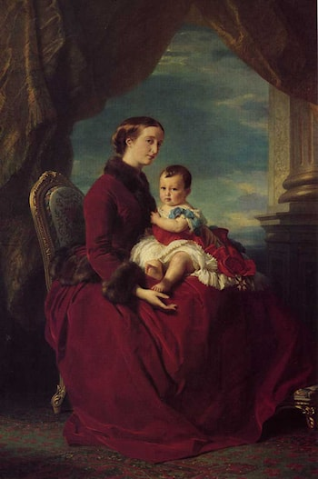 The Empress Eugenie Holding Louis Napoleon, the Prince Imperial on her Knees by Franz Xavier Winterhalter