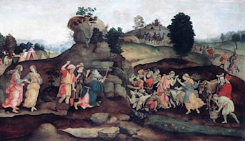 Moses Brings Forth Water out of the Rock by Filippino Lippi