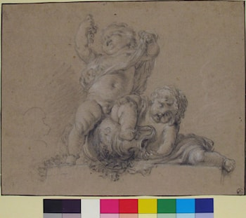 Two Putti, One Holding Aloft a Bunch of Grapes by Clodion