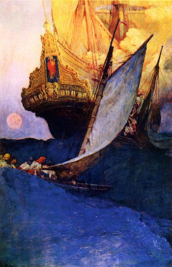 Attack on a Galleon by Howard Pyle