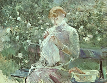 Young Woman Sewing in a Garden by Berthe Morisot