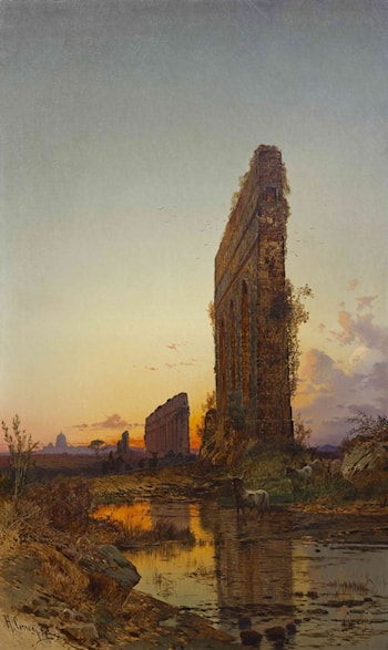 Landscape With Ruins at Nightfall by Hermann David Solomon Corrodi