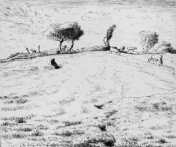 Landscape ­ Hillside in Gruchy, Normandy by Jean-Francois Millet