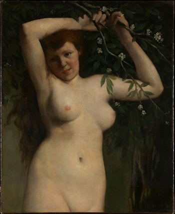 Nude with Flowering Branch by Gustave Courbet