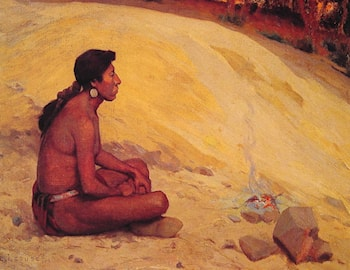 Indian Seated by a Campfire by Eanger Irving Couse
