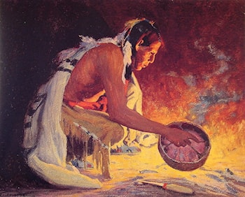 Indian by Firelight by Eanger Irving Couse