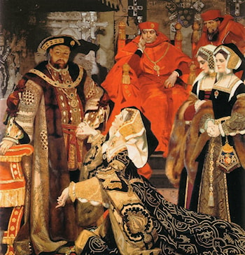 Henry VIII and Catherine of Aragon before Papal Legates at Blackfriars,1529 by Frank Cadogan Cowper