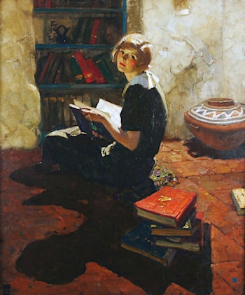 Portrait of a Young Woman Reading by Dean Cornwell