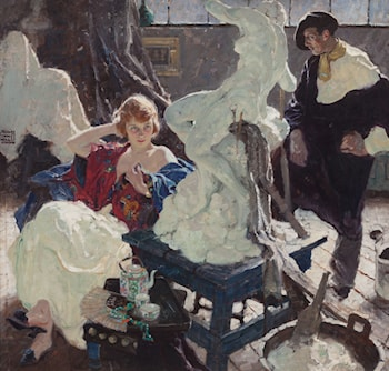 The Artist and His Model by Dean Cornwell