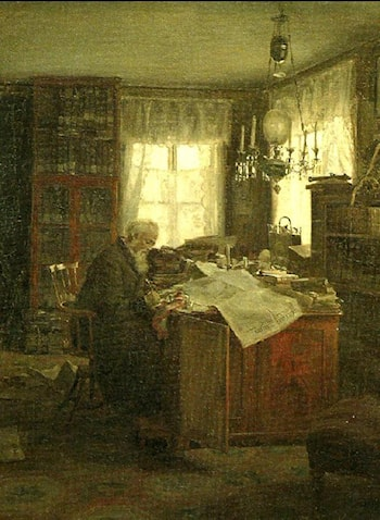 C.F. Ridderstad in His Study by Johan Krouthén