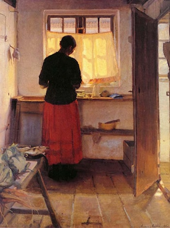 Girl in Kitchen by Anna Ancher