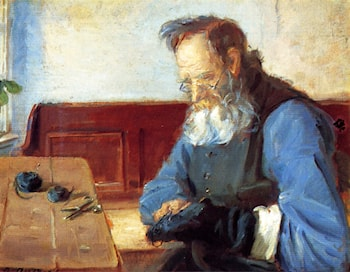 A Man Mending Socks by Anna Ancher