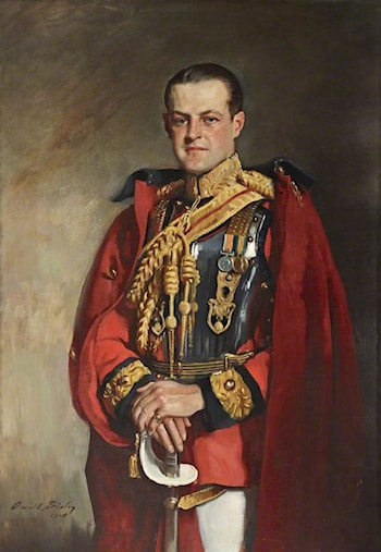 Huttleston Rogers Broughton (1896–1966), 1st Lord Fairhaven, in the Ceremonial Uniform of the 1st Life Guards by Oswald Hornby Joseph Birley