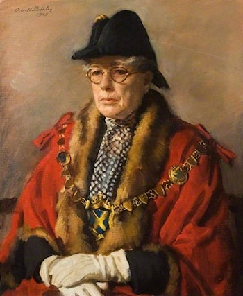 Miss Margaret Wix (1879–1953) JP, Mayor of St Albans by Oswald Hornby Joseph Birley