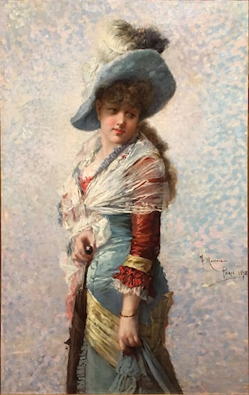 Portrait of a Woman with a  Shawl, a Hat, and a Parasol by Francesc Manovens