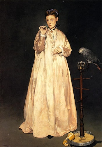 Young Lady with a Parrot by Edouard Manet