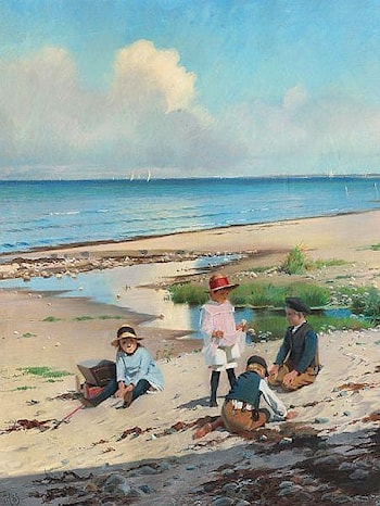 Summer day on the beach at Hornbæk with children playing by Frants Henningsen
