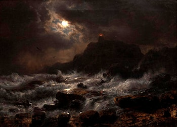 Norwegian Coast by Moonlight by Andreas Achenbach