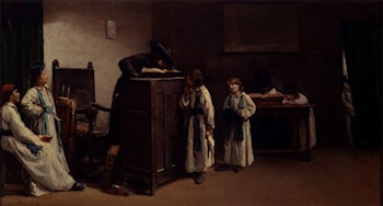 Rabbinical Students In A Classroom by Edouard Brandon