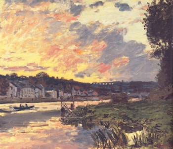 The Seine at Bougival in the Evening by Claude Monet