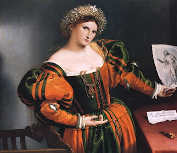 Portrait of a lady with a picture of the suicide of Lucretia by Lorenzo Lotto
